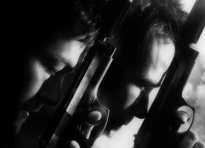 Boondock Saints, monochrome, greyscale - random desktop wallpaper