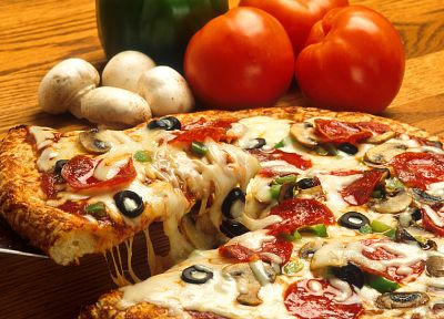 food, pizza, mushrooms, tomatoes - related desktop wallpaper