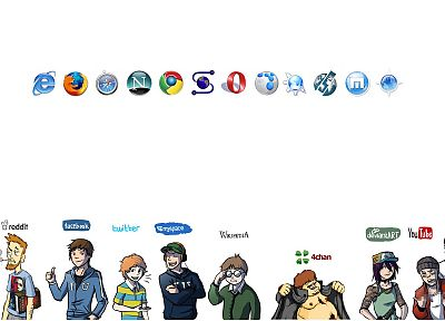 Facebook, flock, Opera web browser, Firefox, Mozilla, Google, YouTube, Twitter, myspace, Wikipedia, DeviantART, marathon, browsers, Reddit, network, Internet Explorer, Google Chrome, Digg, 4chan - related desktop wallpaper
