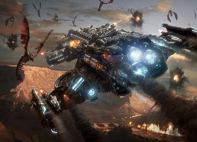 video games, Zerg, Terran, Hyperion, spaceships, vehicles, StarCraft II - related desktop wallpaper