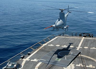 helicopters, vehicles, UAV, landing, MQ-8 Fire Scout, sea - random desktop wallpaper