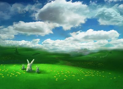 bunnies, landscapes, fields, artwork - desktop wallpaper