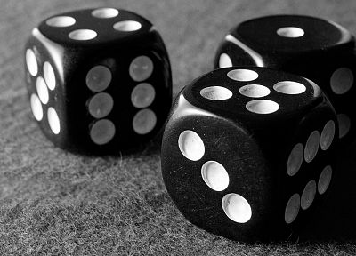 dice, monochrome, macro - random desktop wallpaper
