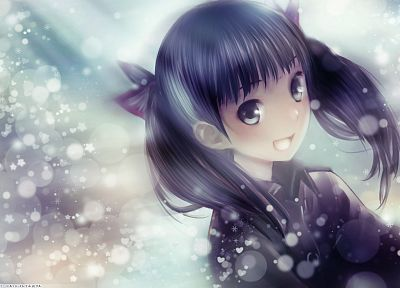 snow, long hair, twintails, Sora No Woto, smiling, bows, open mouth, gray eyes, Kishida Mel, faces, hair ornaments, black hair, Suminoya Kureha - random desktop wallpaper