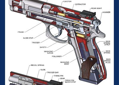 guns, weapons, infographics, handguns - random desktop wallpaper