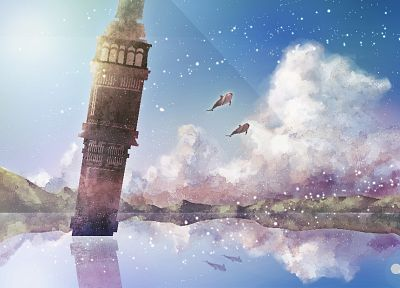 tower, artwork, anime, lakes, dolphins, skyscapes - desktop wallpaper