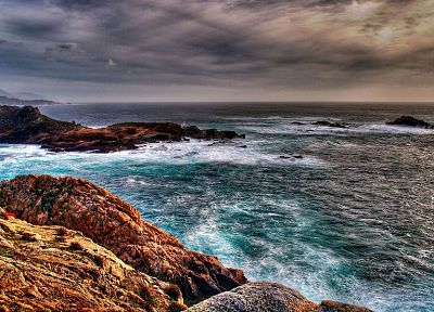 water, ocean, coast, waves, stones, HDR photography, sea, beaches - related desktop wallpaper