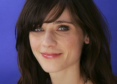 brunettes, women, Zooey Deschanel, smiling, faces, bangs - desktop wallpaper
