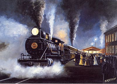 paintings, smoke, trains, train stations, steam engine, vehicles - related desktop wallpaper