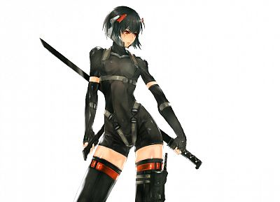 black, Kusanagi Motoko, weapons, thigh highs, bodysuits, Ghost in the Shell, soft shading, girls with swords, simple background, anime girls, Metal Gear Solid 4, Nidy-2D- - desktop wallpaper