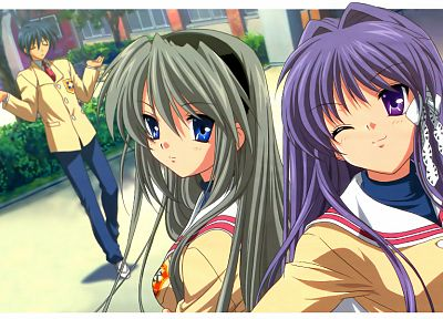school uniforms, Clannad, Sakagami Tomoyo, Fujibayashi Kyou, Okazaki Tomoya, anime girls - desktop wallpaper