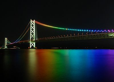 night, bridges, rainbows - random desktop wallpaper