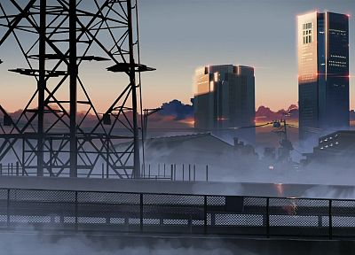 fog, Makoto Shinkai, power lines, 5 Centimeters Per Second - desktop wallpaper