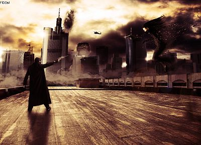 guns, explosions, masks, standoff, photo manipulations - random desktop wallpaper
