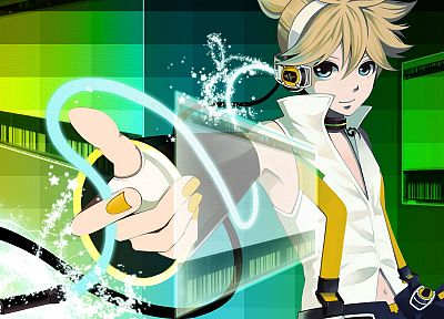 headphones, blondes, Vocaloid, Kagamine Len, Vocaloid Append - random desktop wallpaper