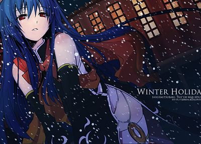 Touhou, blue hair, Hinanawi Tenshi, detached sleeves - desktop wallpaper