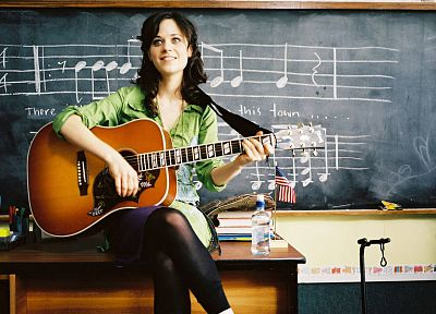 women, Zooey Deschanel, guitars - random desktop wallpaper