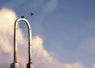 birds, artwork, arch, skyscapes - random desktop wallpaper
