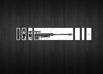 minimalistic, snipers, Gunslinger Girl, simplistic, wooden floor - related desktop wallpaper