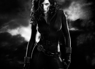 women, Scarlett Johansson, actress, Black Widow, Natasha Romanoff, greyscale, The Avengers (movie) - random desktop wallpaper