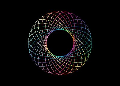 abstract, rainbows, simple, spirograph, colors, color spectrum - desktop wallpaper