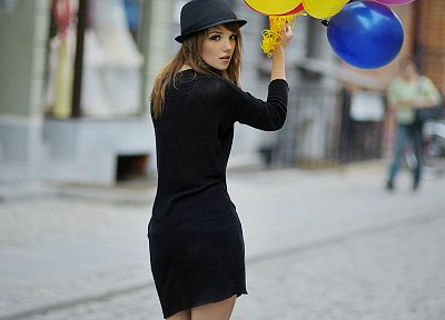 women, black dress, balloons, hats - random desktop wallpaper