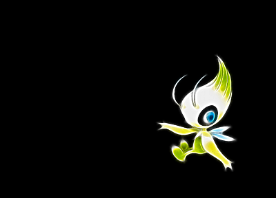 Pokemon, simple background, black background, Celebi - random desktop wallpaper