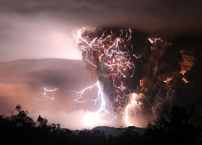 nature, volcanoes, storm, Earth, lightning, eruption - random desktop wallpaper