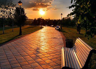 Sun, paths, bench, lamp posts, parks - newest desktop wallpaper