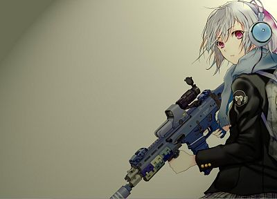 guns, weapons, girls with guns, Fuyuno Haruaki, simple background, anime girls - related desktop wallpaper