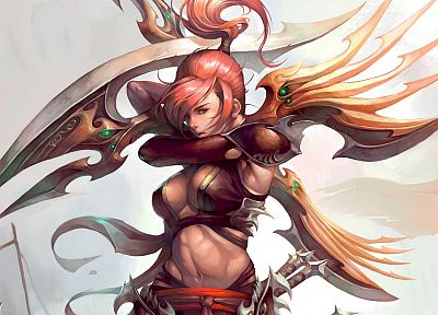 women, fantasy, blade, pink hair, artwork, warriors, Legend of Mir 2 - related desktop wallpaper