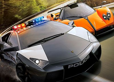 video games, cars, police, Need for Speed, racer, Lamborghini Reventon, Pagani Zonda Cinque, Need for Speed Hot Pursuit, games - related desktop wallpaper
