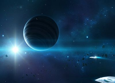 outer space, stars, planets, spaceships, asteroids - random desktop wallpaper