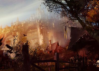 video games, castles, artwork, MMORPG, Guild Wars 2 - desktop wallpaper