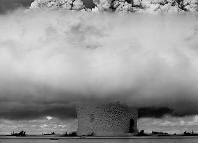 explosions, mushrooms, grayscale, monochrome, nuclear explosions - desktop wallpaper