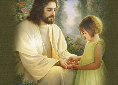 paintings, peace, God, paradise, Heaven, Jesus Christ, artwork, kitsch, little girl - random desktop wallpaper