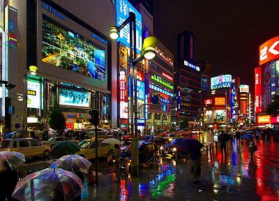 Tokyo, night, rain, cars, shinjuku, umbrellas, pedestrians - related desktop wallpaper