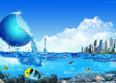 water, abstract, cityscapes, buildings, splashes - random desktop wallpaper