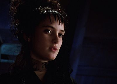 women, movies, actress, celebrity, screenshots, Winona Ryder, black dress, Beetle Juice, blue background, movie stills - related desktop wallpaper