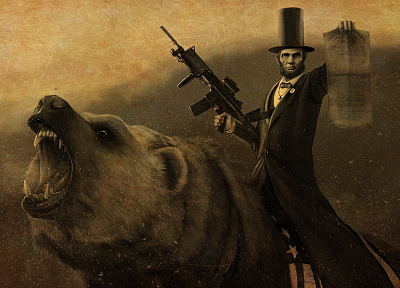 guns, animals, Abraham Lincoln, weapons, bears, coat, top hat - random desktop wallpaper