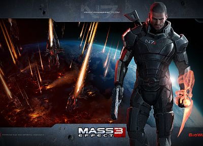outer space, planets, reaper, Earth, men, BioWare, N7, Mass Effect 3, Commander Shepard, Electronic Arts - related desktop wallpaper