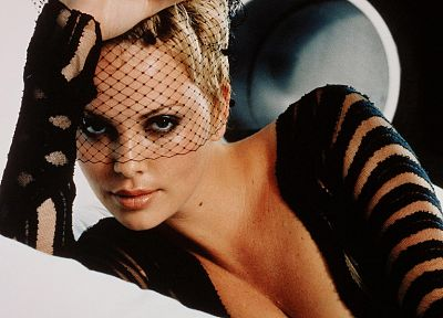 blondes, women, actress, cleavage, Charlize Theron, veil - desktop wallpaper