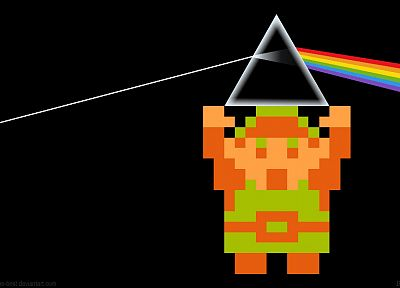 video games, Pink Floyd, Link, prism, The Legend of Zelda, rainbows, retro games - related desktop wallpaper
