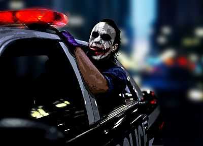 The Joker, Heath Ledger, police cars, The Dark Knight, clown - random desktop wallpaper