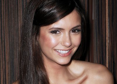 brunettes, women, close-up, celebrity, brown eyes, Nina Dobrev, smiling - random desktop wallpaper