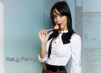 brunettes, women, uniforms, Katy Perry, indoors, schoolgirls, belts, singers - related desktop wallpaper