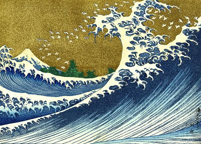 Japan, paintings, nature, trees, waves, The Great Wave off Kanagawa, Katsushika Hokusai, Thirty-six Views of Mount Fuji - desktop wallpaper