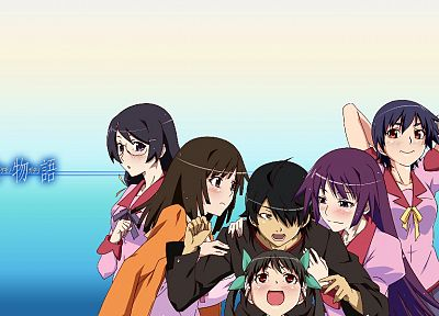 Bakemonogatari, Araragi Koyomi, Sengoku Nadeko, Hanekawa Tsubasa, Hachikuji Mayoi, Senjougahara Hitagi, Kanbaru Suruga, Monogatari series - related desktop wallpaper