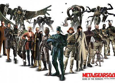 video games, Metal Gear Solid, old snake, science fiction, M4, Raiden, monkeys, Guns of the Patriots, meryl silverburgh, ocelot - related desktop wallpaper