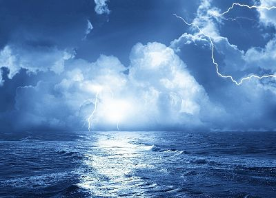 ocean, lightning, sea - random desktop wallpaper